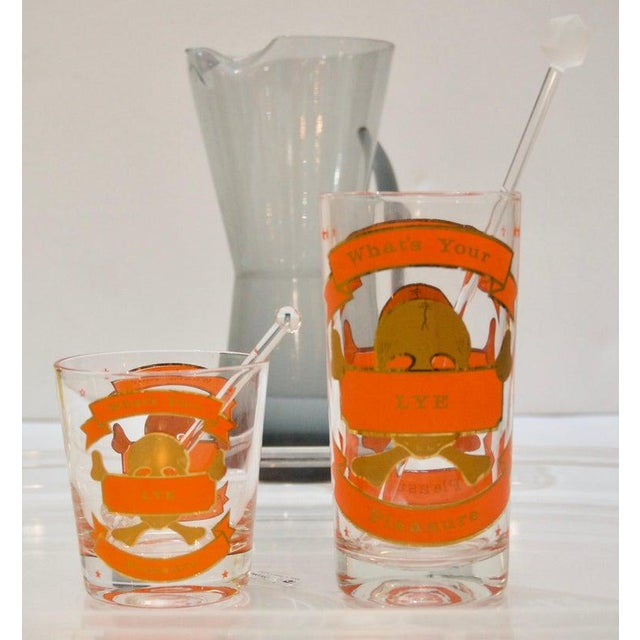 """""""Whats Your Pleasure"""". Mid-Century Colorful Glass Barware Set - 27 Pcs For Sale - Image 4 of 13"""