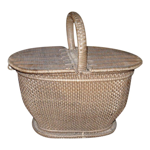 Charming Handwoven Nantucket Style Basket For Sale