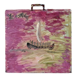 1980s Purvis Young Salesman Carpet Sample Original Boat Painting Outsider Art For Sale
