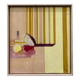 Vintage Abstract Still Life in Wooden Frame For Sale