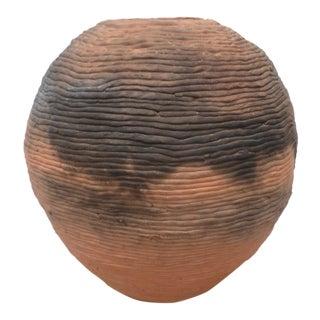 Modern Terracotta Ribbed Vase For Sale