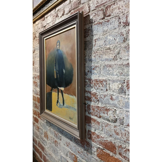 Girl with a Black Coat -1961 Mid century Modern Oil painting by Weber - Image 10 of 10