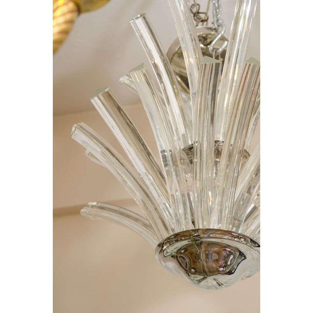 20th Century Two-Tier Murano Curved Glass Chandelier For Sale - Image 4 of 7
