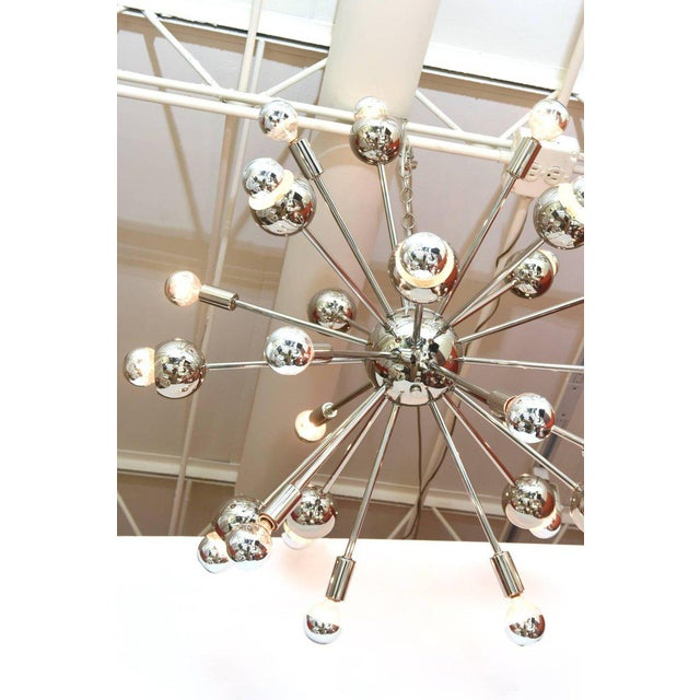 Nickel Silver 24 Bulb Sputnik Vintage Chandelier For Sale - Image 4 of 10