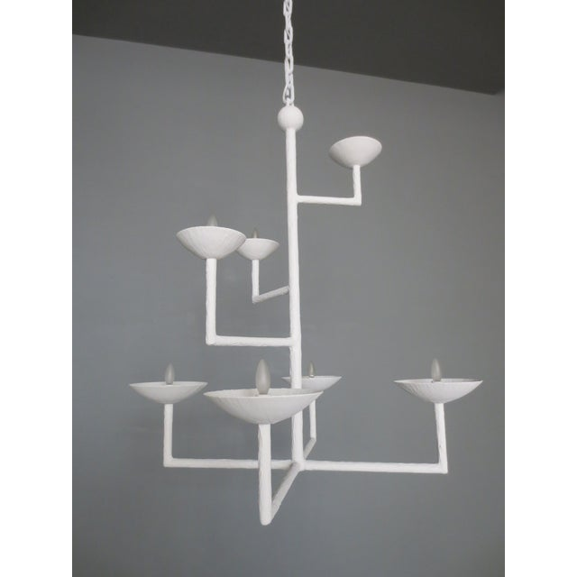 7 Cup Plaster Chandelier With Chain For Sale - Image 4 of 8