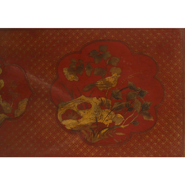 Pair of Asian Chinese Style Red Lacquer Chinoiserie Decorated Altar Console Table For Sale In New York - Image 6 of 10