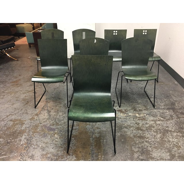 Design Plus gallery has a set of eight stackable chairs. The chairs were produced by Leland International out of Ann Arbor...