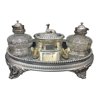 1870s Victorian William & George Sissons Silver Plated Inkstand - Set of 4 For Sale