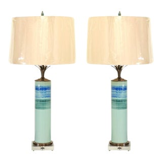 Stellar Pair of Drip-Glaze Cylinder Lamps with Bronze and Lucite Accents