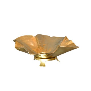 Large Hand-Crafted Brass Lotus Leaf Bowl on Stand by Oskar J. W. Hansen For Sale