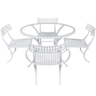 "Vintage Cast Aluminum ""Klismos"" Dining Set by Thinline For Sale"