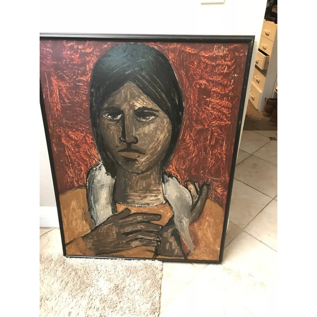 "In the Style of Esperilio Bute (1931 - 2003) ""Portrait of a Girl"" Likely Acrylic on Board Signed ""Bute"" For Sale - Image 9 of 13"