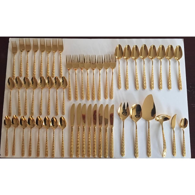 Exceptional Vintage set of Gold Electroplate Flatware with Glamorous Braided Handles - marked VIP by Present. Service for...