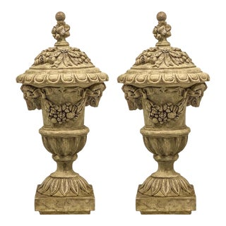 Large Scale Neo-Classical Style Ram's Head Urns -Pair For Sale
