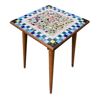 Mid Century Mosaic Tile Side Table For Sale