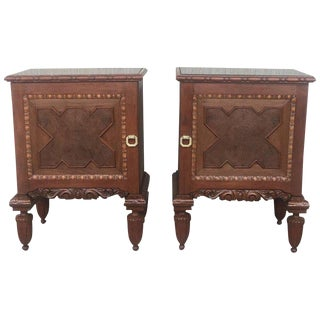 Pair of French Art Deco Heavily Hand Carved Bedside Tables Nightstands, 1920s For Sale