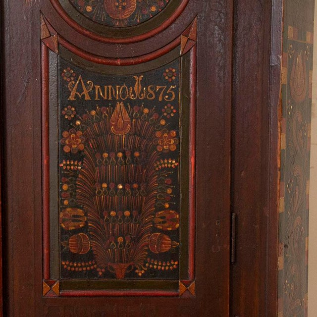 Brown Antique 2 Door Hungarian Armoire With Original Folk Art Paint For Sale - Image 8 of 13