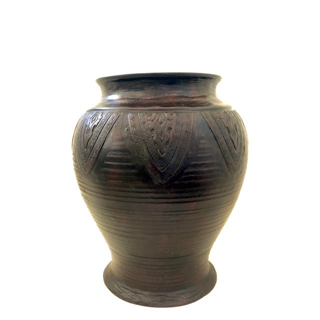 Japanese Bronze Vase Antique Chinese Asian Cicada Pattern 9 Inch Large For Sale - Image 4 of 9