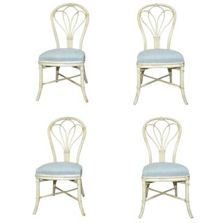 McGuire Lacquered Rattan Bistro Chairs- Set of 4 For Sale