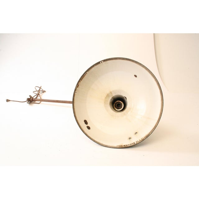 Vintage Industrial Green Enamel Light Fixture with Wall Bracket For Sale - Image 11 of 11