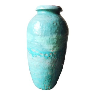 Massive Vintage Turquoise Terracotta Vase For Sale