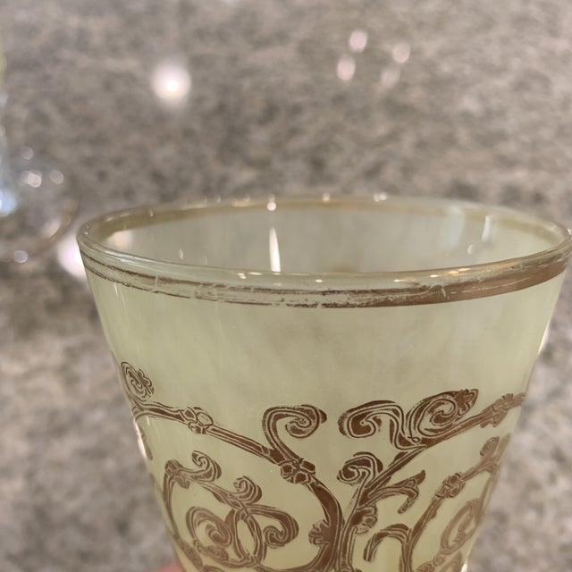 Hand-Blown Murano Chartreuse/Yellow Ombré Wine Glass Goblets - 4 Sets of 4 For Sale - Image 9 of 11