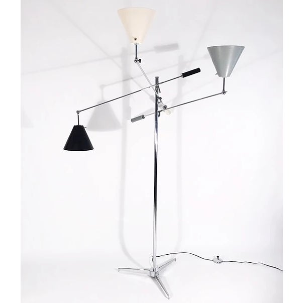 Authentic, original Triennale Lamp. Chrome with black/white/gray shades. Made in Italy. Signed Arredoluce.