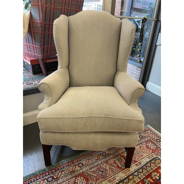 Wood 1940s Vintage Mahogany Chippendale Wingback With Down Cushions For Sale - Image 7 of 7