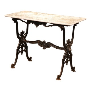 19th Century French Black Iron Bistrot Table with Original Weathered Marble Top For Sale