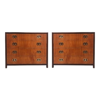 Michael Taylor Baker 4 Drawer Chests W Brass Ring Hardware- a Pair For Sale