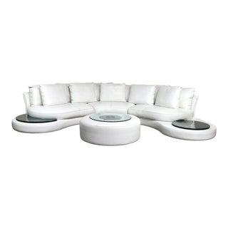 Modern Roche Bobois 'Formentera' Leather Modular Sofa & Ottoman For Sale