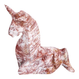 Mid Century Pink and White Stone Marble Unicorn Sculpture For Sale