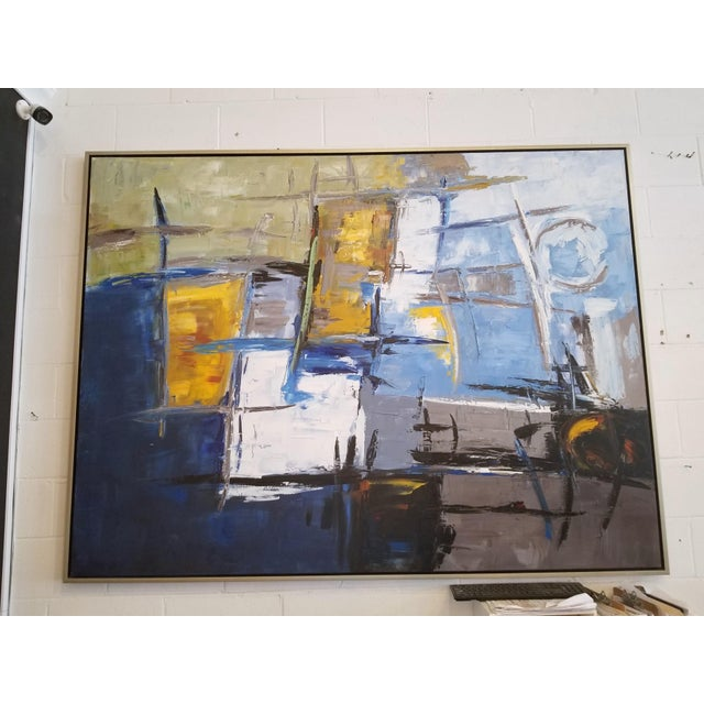 Oversized Abstract Art on Canvas in Metal Frame For Sale - Image 4 of 4
