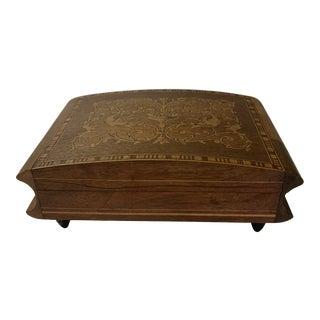 Vintage Lador Switzerland Wooden Inlaid Designed Music Box For Sale