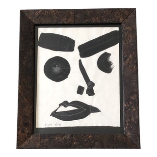Original Contemporary Robert Cooke Abstract Face Painting Burled Wood Frame For Sale