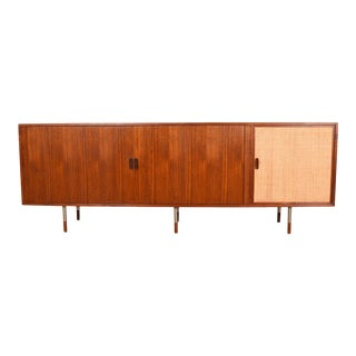 Rare Sideboard by Arne Vodder With Tambour Doors, Caned Door & Steel Legs For Sale
