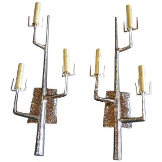 Pair of Polished Bronze Tree Sconces by Felix Agostini For Sale