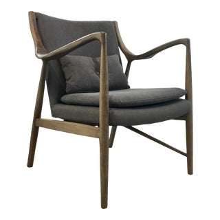 Danish Modern Style Gray Canvas Arm Chair For Sale