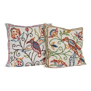 2 Vintage Crewel Embroidered Pillows Birds Flowers India For Sale