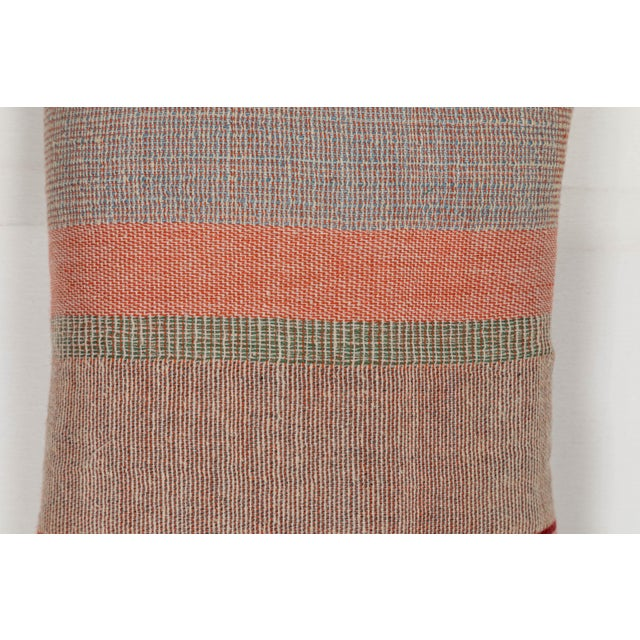 2010s Indian Handwoven Pillow in Pastel Stripes Design For Sale - Image 5 of 6