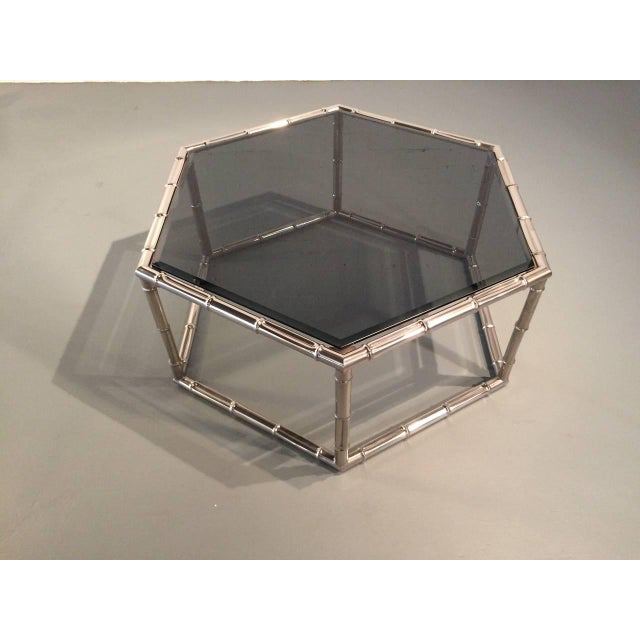Gold Faux Bamboo Nickel and Smoked Glass Cocktail Table by Mastercraft For Sale - Image 8 of 8