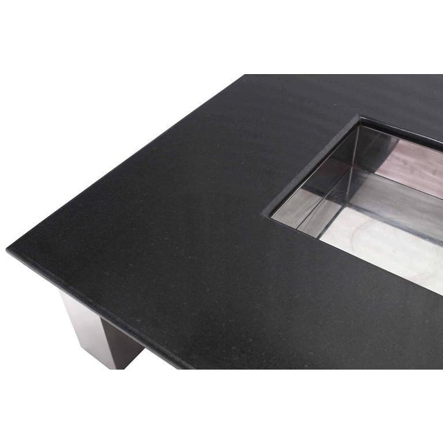 Mid-Century Modern Square Granite Top Coffee Table For Sale - Image 9 of 11