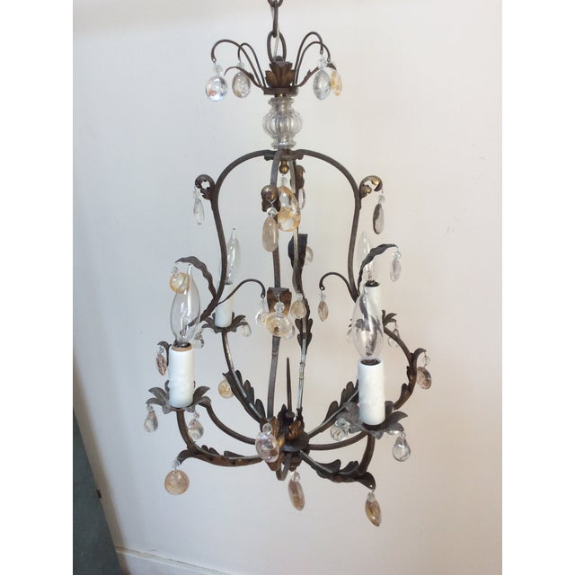 Traditional Polished Steel & Quartz Prism Chandelier For Sale - Image 3 of 6