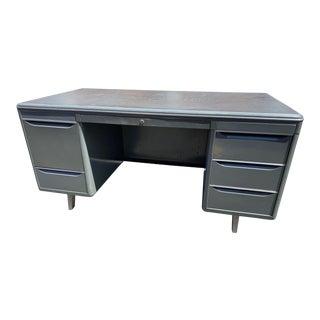 1940's Vintage Industrial Metal Tanker Desk For Sale