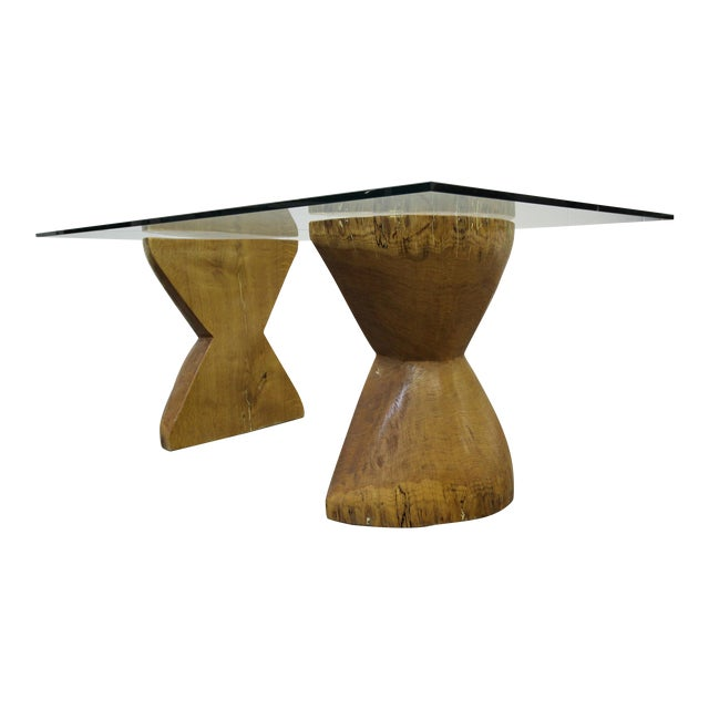 Pair of Raw Live Edge Wood Hourglass Dining Table Pedestals For Sale