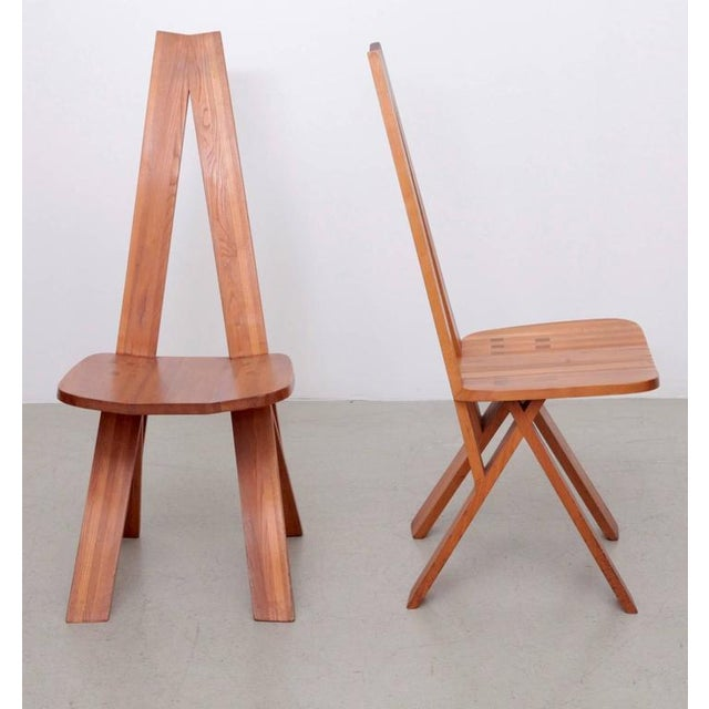 Mid-Century Modern Pair of Two Pierre Chapo S45 Chairs in Solid Elm For Sale - Image 3 of 6