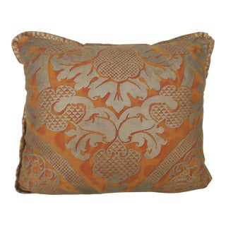 Sunkist and Silvery Gold Fortuny Pillow With Flange Detail For Sale