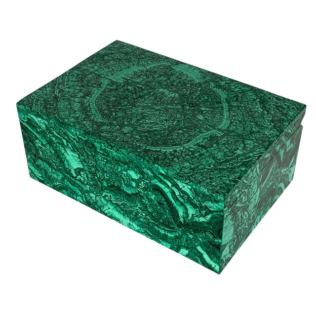 Large Modern Malachite Stone Jewelry Box For Sale