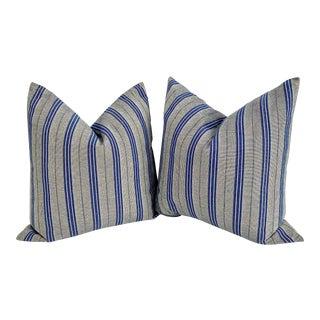 Ralph Lauren Ticking Feather Pillows - a Pair For Sale
