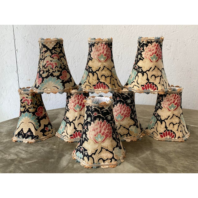 Antique Textile French Floral Lampshades - Set of 8 For Sale In Philadelphia - Image 6 of 6